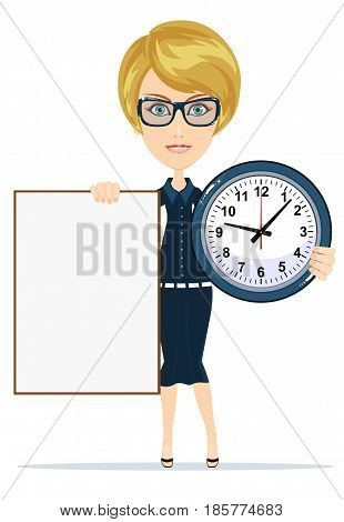 Woman holding a blank poster and clock. Stock vector illustration for poster, greeting card, website, ad, business presentation, advertisement design.