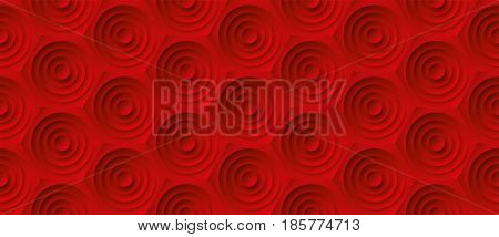 Volume realistic embossing texture, circles in honeycomb, red background, 3d geometric seamless pattern, design vector wallpaper
