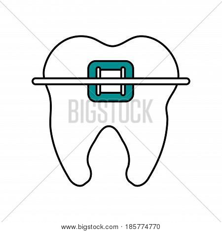 color silhouette cartoon orthodontic tooth vector illustration