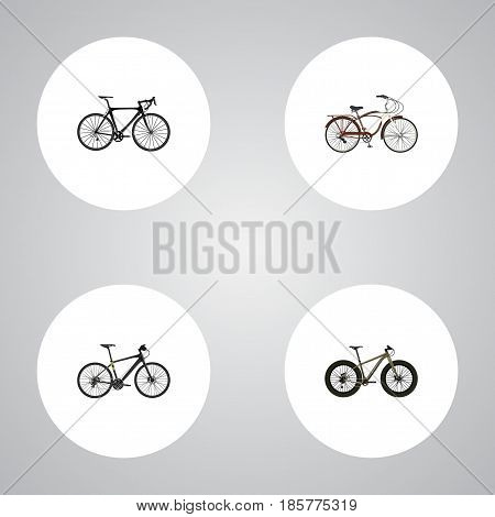 Realistic Journey Bike, Exercise Riding, Bmx And Other Vector Elements. Set Of Lifestyle Realistic Symbols Also Includes Extreme, Bmx, Training Objects.
