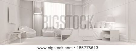 Panorama of white hotel room as bedroom with design furniture