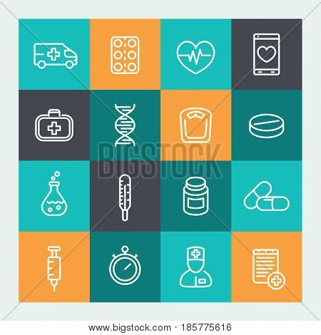 medicine icons set in line style, pharmaceutics, ambulance, healthcare, therapy, thermometer, syringe, therapist, first aid kit