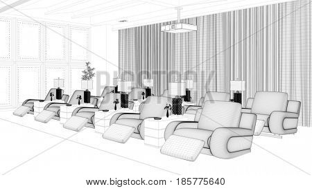 Wire mesh CAD draft of home cinema room (3D Rendering)