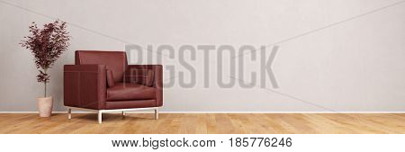 Leather chair in living room with oak parquet floor and empty wall (3D Rendering)