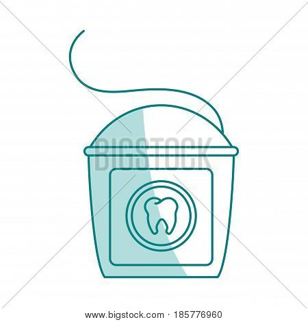 green shading silhouette cartoon dental floss for oral health vector illustration
