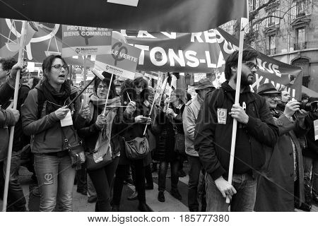 Protesters at the beginning of the march for the 6th republic in Paris, march 18th. This march has been organised by Jean-Luc Mélenchon during the french presidential campaign in 2017.