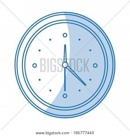 blue shading silhouette cartoon analog wall clock vector illustration