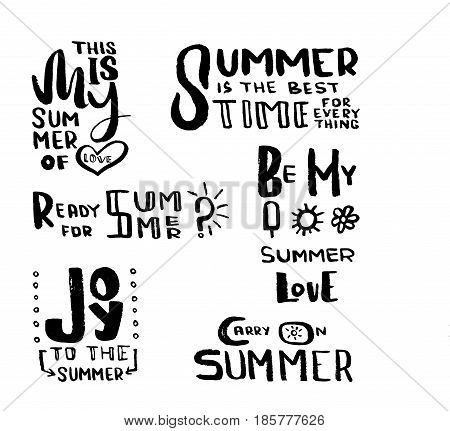 Hand drawn brush lettering for summer vacation, travel agency, summer party. Unique typography design elements for a postcard, mug or poster. Perfect for a summertime. Vector illustration.