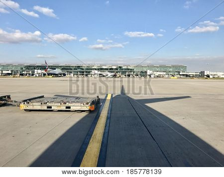 LONDON - MAY 9, 2017: British Airways Terminal 5 aircraft operations at London Heathrow International Airport in West London, UK.