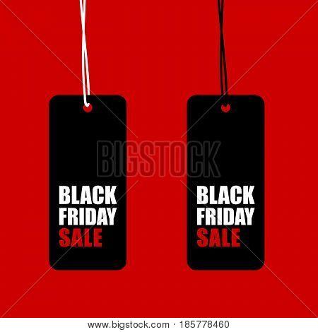 Black Friday Sale Tag Set Illustration On Red Background