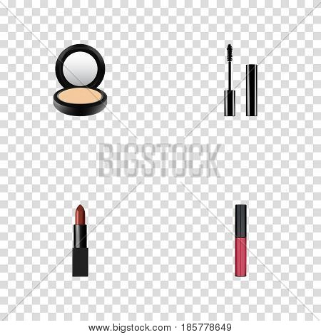 Realistic Blusher, Liquid Lipstick, Eyelashes Ink And Other Vector Elements. Set Of Cosmetics Realistic Symbols Also Includes Eyelashes, Cosmetic, Pomade Objects.