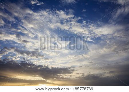 Cloudy Blue Sky Background At Sunset