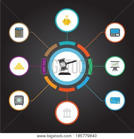 Flat Verdict, Strongbox, Accounting And Other Vector Elements. Set Of Business Flat Symbols Also Includes Machine, Money, Accounting Objects.
