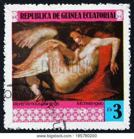 EQUATORIAL GUINEA - CIRCA 1978: a stamp printed in Equatorial Guinea shows Leda and the Swan Painting by Michelangelo Italian Painter circa 1978