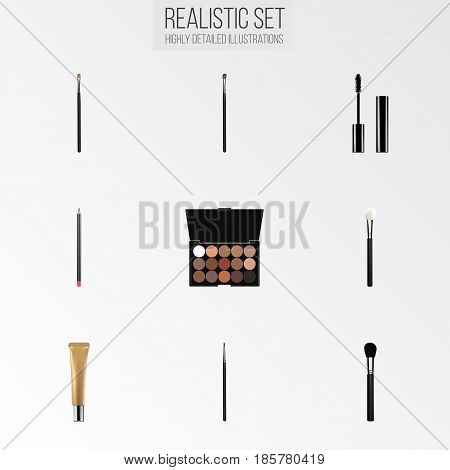 Realistic Collagen Tube, Mouth Pen, Beauty Accessory And Other Vector Elements. Set Of Maquillage Realistic Symbols Also Includes Lips, Multicolored, Powder Objects.