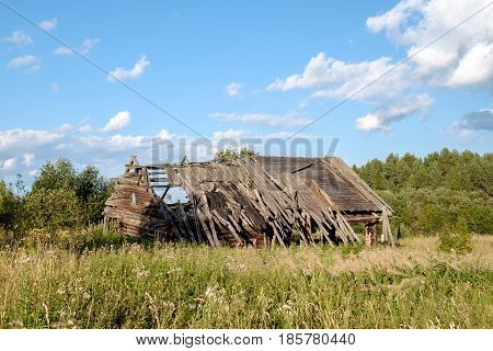 Abandoned wooden old house in russian village