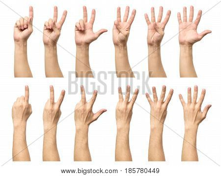 Five Counting Male Hands Isolated On White