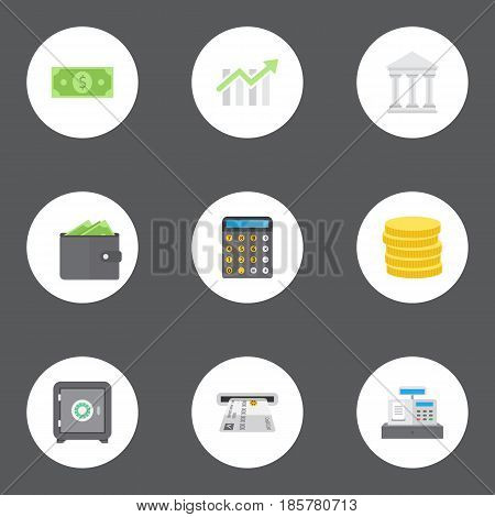 Flat Money, Strongbox, Accounting And Other Vector Elements. Set Of Finance Flat Symbols Also Includes Bank, Building, Diagram Objects.
