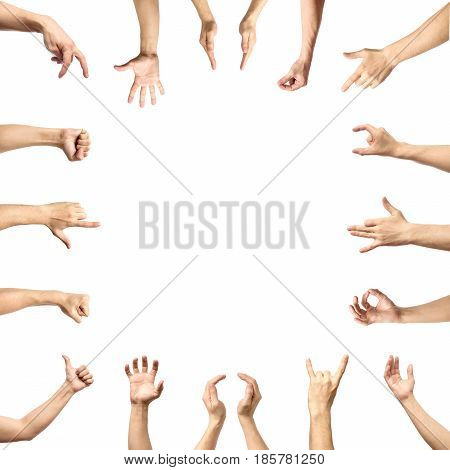 Multiple male caucasian hand gestures isolated over the white background set of multiple images