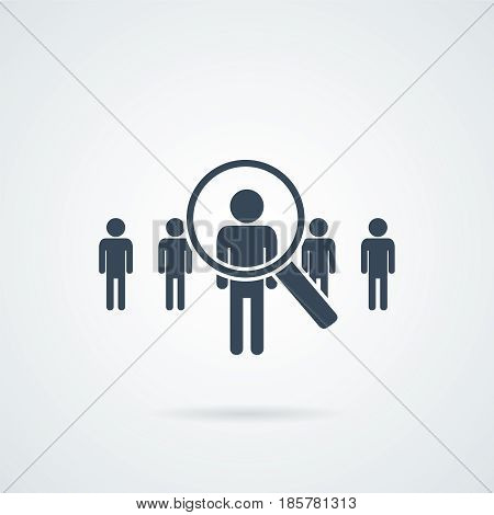 people Search vector icon.Abstract people silhouette in magnifier shape. Design concept for search for employees and job business human resource and professional headhunting social network.
