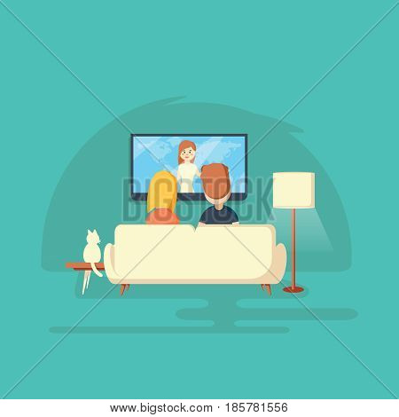 Watching TV at home. Man woman and cat.Vector llustration