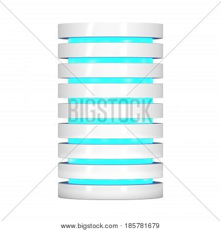 Futuristic server hard disk and database or battery cell. 3d render isolated on white. Web Hosting or cloud computing concept.