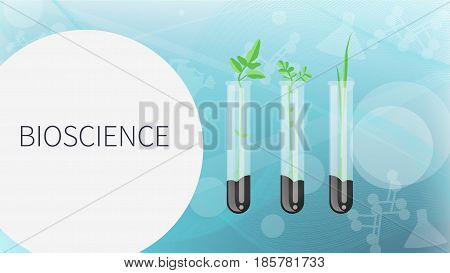 Bioscience vector concept: Laboratory glassware with soil and plant. Flat design illustration on color background. - stock vector