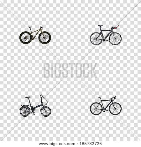 Realistic Bmx, Cyclocross Drive, Folding Sport-Cycle And Other Vector Elements. Set Of Lifestyle Realistic Symbols Also Includes Extreme, Triathlon, Bike Objects.
