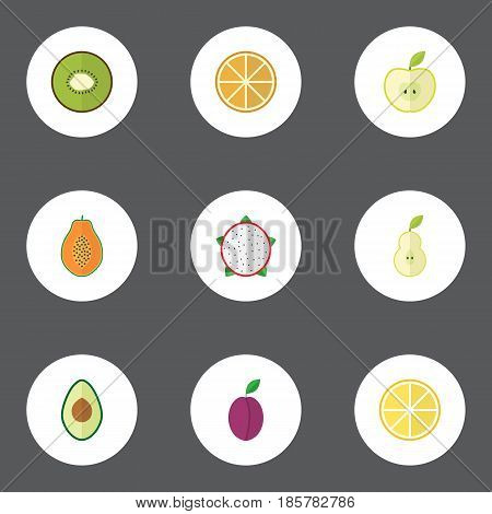 Flat Jonagold, Pitaya, Alligator Pear And Other Vector Elements. Set Of Fruit Flat Symbols Also Includes Avocado, Kiwi, Lemon Objects.