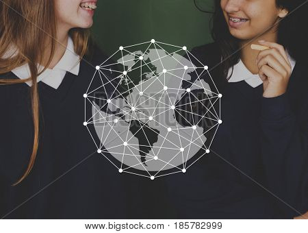 Dots Global Connection Worldwide Graphic