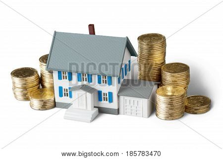Model of a House with Stacks of a Gold Coins - Isolated