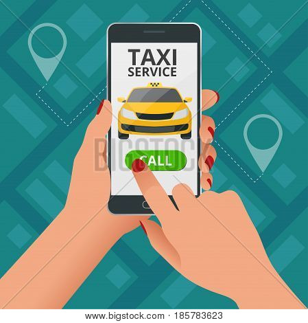 Online Taxi-service concept. Woman orders a taxi from his cell phone. Taxi service application on screen. Vector business card template