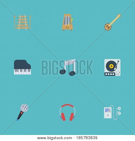 Flat Karaoke, Octave Keyboard, Banjo And Other Vector Elements. Set Of Audio Flat Symbols Also Includes Headphones, Rhythm, Player Objects.