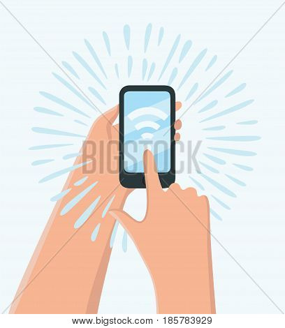 Vector cartoon illustration of hand holding smartphone with wifi wireless connection business concept