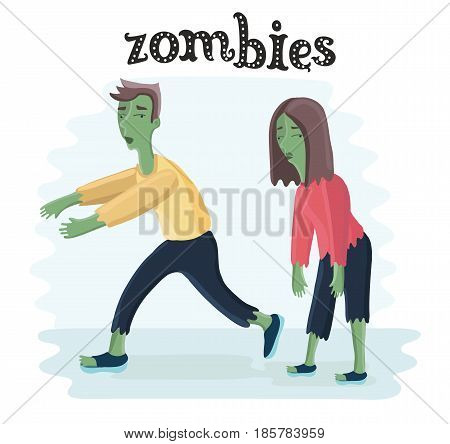 Vector cartoon illustration of zombies. Freaky man and woman characters