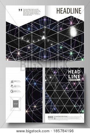 Business templates for bi fold brochure, magazine, flyer, booklet or annual report. Cover design template, easy editable vector, abstract flat layout in A4 size. Sacred geometry, glowing geometrical ornament. Mystical background.