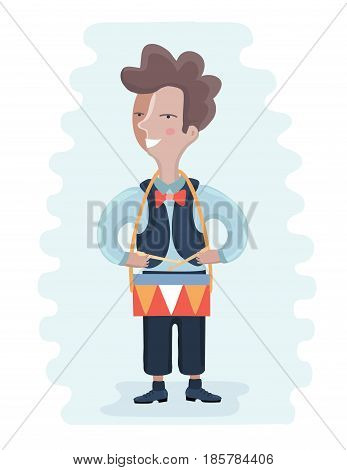 Boy playing drum. Vector cartoon illustration of a cheerful boy playing drum.