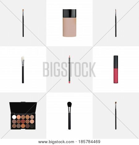 Realistic Liquid Lipstick, Eye Paintbrush, Multicolored Palette And Other Vector Elements. Set Of Cosmetics Realistic Symbols Also Includes Pomade, Palette, Eyeshadow Objects.