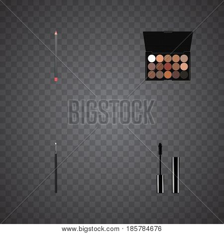 Realistic Cosmetic Stick, Mouth Pen, Multicolored Palette And Other Vector Elements. Set Of Cosmetics Realistic Symbols Also Includes Stick, Brush, Blending Objects.