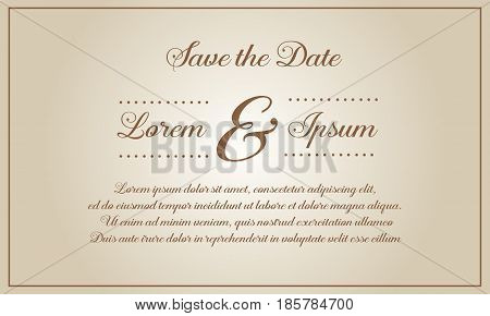 Vector illustration wedding invitation style collection stock