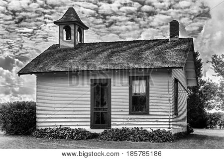School House in Black and White - aged image