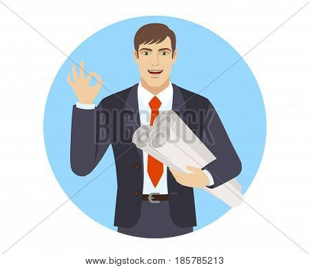Businessman holding the project plans and showing a okay hand sign. Full length portrait of businessman character in a flat style. Vector illustration.