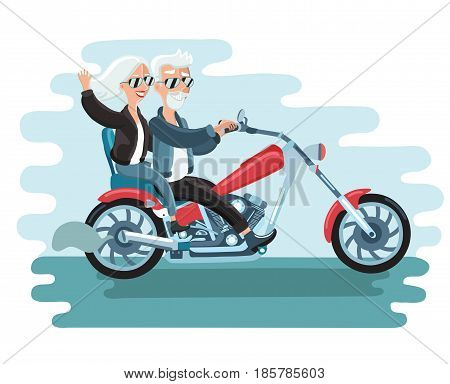 Cartoon vector illustration of elderly couple on motorbike. Happy pensioner riding. Freedom and fun