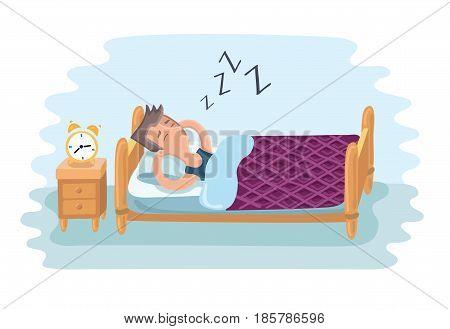 Vector cartoon illustration of tired man sleeping