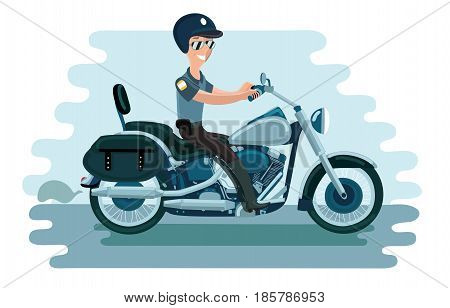 Vector illustration of cartoon police officer on motorcycle