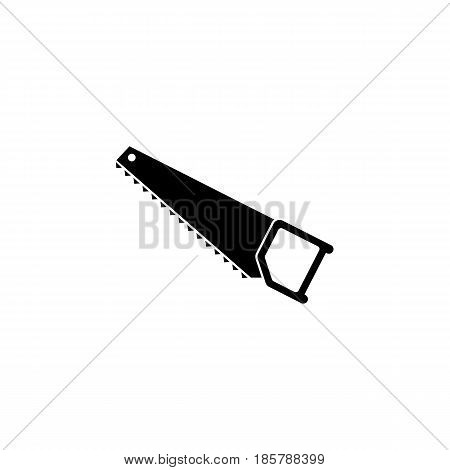 Hand saw solid icon, build repair elements, construction tool, a filled pattern on a white background, eps 10.