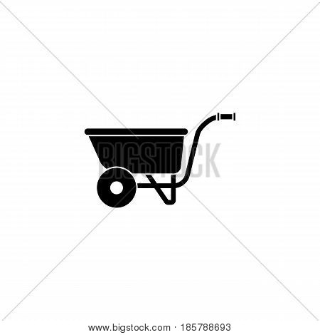 Wheel barrow solid icon, build repair elements, construction tool, a filled pattern on a white background, eps 10.