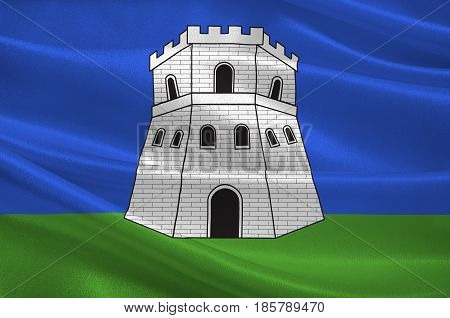 Flag of Bastia is a French commune in the Haute-Corse department of France. 3D illustration