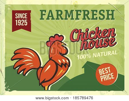 Grunge retro metal sign with chicken. Vintage advertising poster. Farm fresh. Old fashioned design