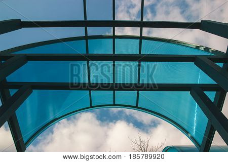 Blue Glassed Bus Stop upper cover roof